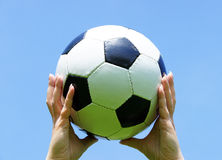 Woman Holding Soccer Ball Stock Images