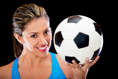 Woman holding a soccer ball Royalty Free Stock Photos