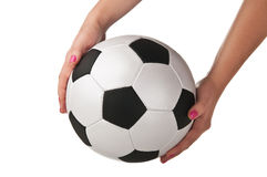Woman holding a soccer ball Royalty Free Stock Photo
