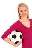 Woman holding soccer ball Royalty Free Stock Photos