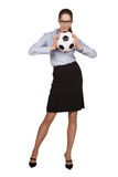 Woman holding a soccer ball with two hands Royalty Free Stock Photography
