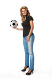 Woman holding soccer football Royalty Free Stock Image
