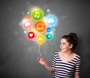Woman holding social media balloon Stock Image
