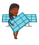 Woman holding solar panel vector illustration. Stock Photos