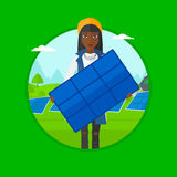 Woman holding solar panel vector illustration. Royalty Free Stock Photo