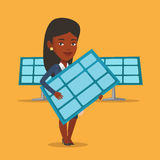 Woman holding solar panel vector illustration. An african worker of solar power plant holding solar panel in hands. Vector flat design illustration. Square Royalty Free Stock Photography