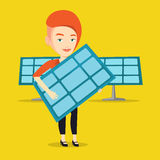 Woman holding solar panel vector illustration. Stock Photography