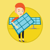 Woman holding solar panel vector illustration. Stock Images