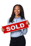 Woman Holding Sold Sign Royalty Free Stock Photography