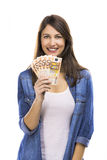 Woman holding some Euro currency notes. Beauitful woman holding some Euro currency notes,  over white background Stock Photography