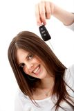 Woman holding some keys Stock Images