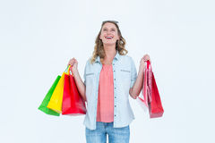Woman holding some shopping bags Stock Image