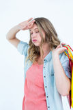 Woman holding some shopping bags Royalty Free Stock Image