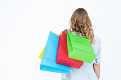 Woman holding some shopping bags Royalty Free Stock Photography