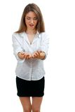 Woman holding something in hands Royalty Free Stock Photo