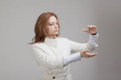 Woman holding something in hands Stock Photo