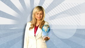 Woman Holding Spinning Globe Royalty Free Stock Image