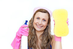 Woman holding a sponge Royalty Free Stock Images