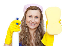 Woman holding a sponge and a detergent spray Stock Images