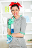 Woman holding a sponge and sprayer for cleaning Royalty Free Stock Photography