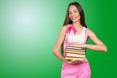 woman holding stack of books Stock Image