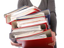 Woman holding stack of folders  - Isolated Stock Photo