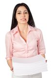 Woman Holding Stack Of Paper Stock Images