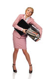Woman holding a stack of paperwork Stock Photos