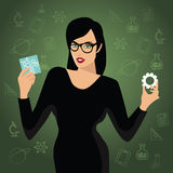 Woman holding STEM icons. EPS10 vector. Royalty free illustration for advertising, promotion, poster, flier, blog, article, social media, marketing, education Royalty Free Stock Image