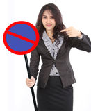 Woman holding stop sign. Business woman holding traffic stop sign or no entry Royalty Free Stock Images