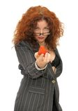 Woman holding a strawberry Stock Photos