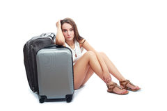 Woman holding suitcase Royalty Free Stock Photos