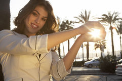 Woman Holding Sun Royalty Free Stock Image