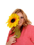 Woman holding sunflower for one eye. Stock Photos