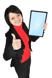 Woman holding tablet Stock Photos