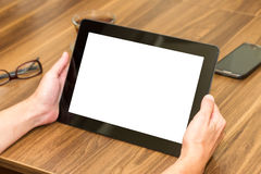 Woman Holding Tablet with Blank Screen Stock Photo