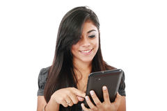Woman holding tablet computer Royalty Free Stock Image