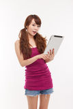 Woman holding tablet computer Royalty Free Stock Photos