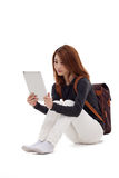 Woman holding tablet computer Stock Image