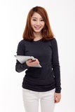 Woman holding tablet computer. Royalty Free Stock Photography