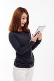 Woman holding tablet computer. Stock Images