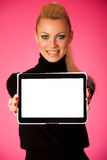Woman holding tablet computer with blanck screen for commercial, Royalty Free Stock Images