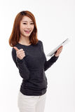 Woman holding tablet computer isolated on white background. royalty free stock photos