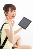 Woman holding tablet computer Royalty Free Stock Images