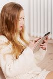 Woman holding a tablet Royalty Free Stock Images