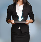 Woman is holding tablet with information icon.  Royalty Free Stock Images