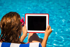 Woman holding tablet PC Royalty Free Stock Images