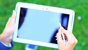Woman holding tablet PC Stock Photos
