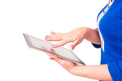 Woman holding a tablet pc royalty free stock photo