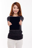 Woman holding tablet Woman holding tablet computer Stock Photos